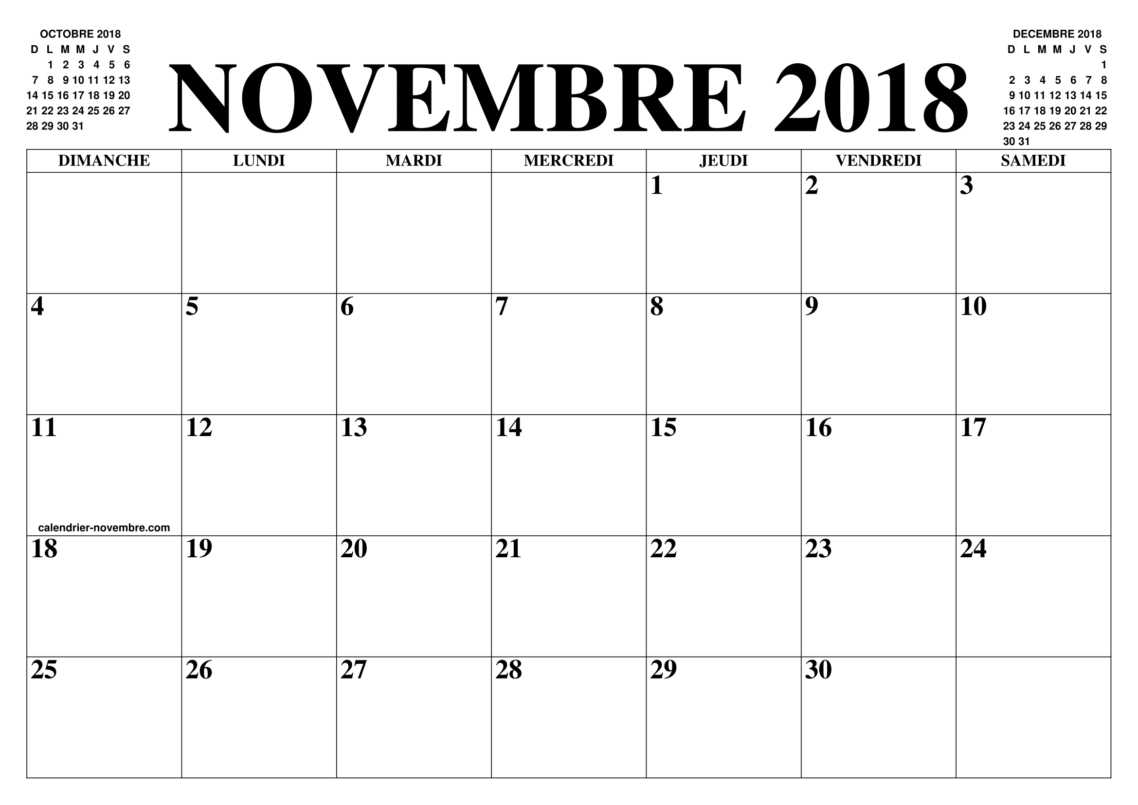 calendrier novembre 2018 2019 le calendrier du mois de novembre 2018 2019 gratuit a. Black Bedroom Furniture Sets. Home Design Ideas