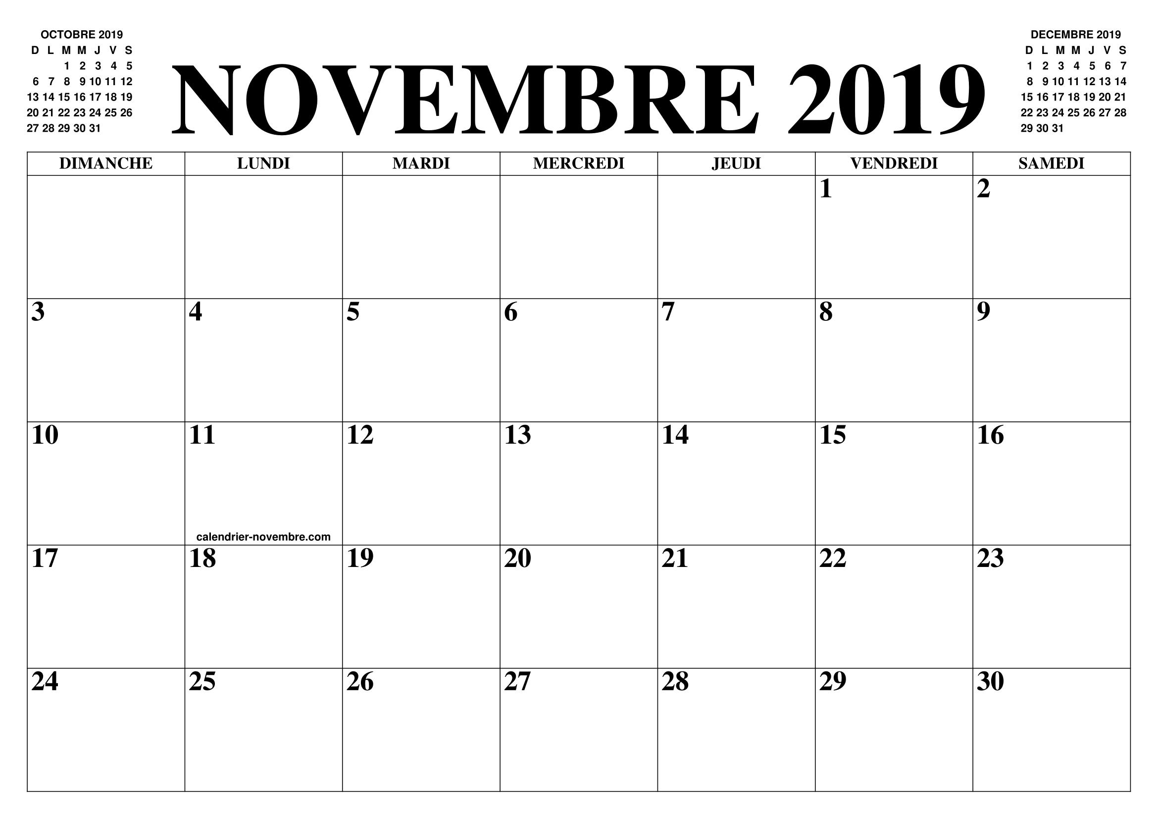 Calendrier A Imprimer Novembre 2019.Calendrier Novembre 2019 2020 Le Calendrier Du Mois De