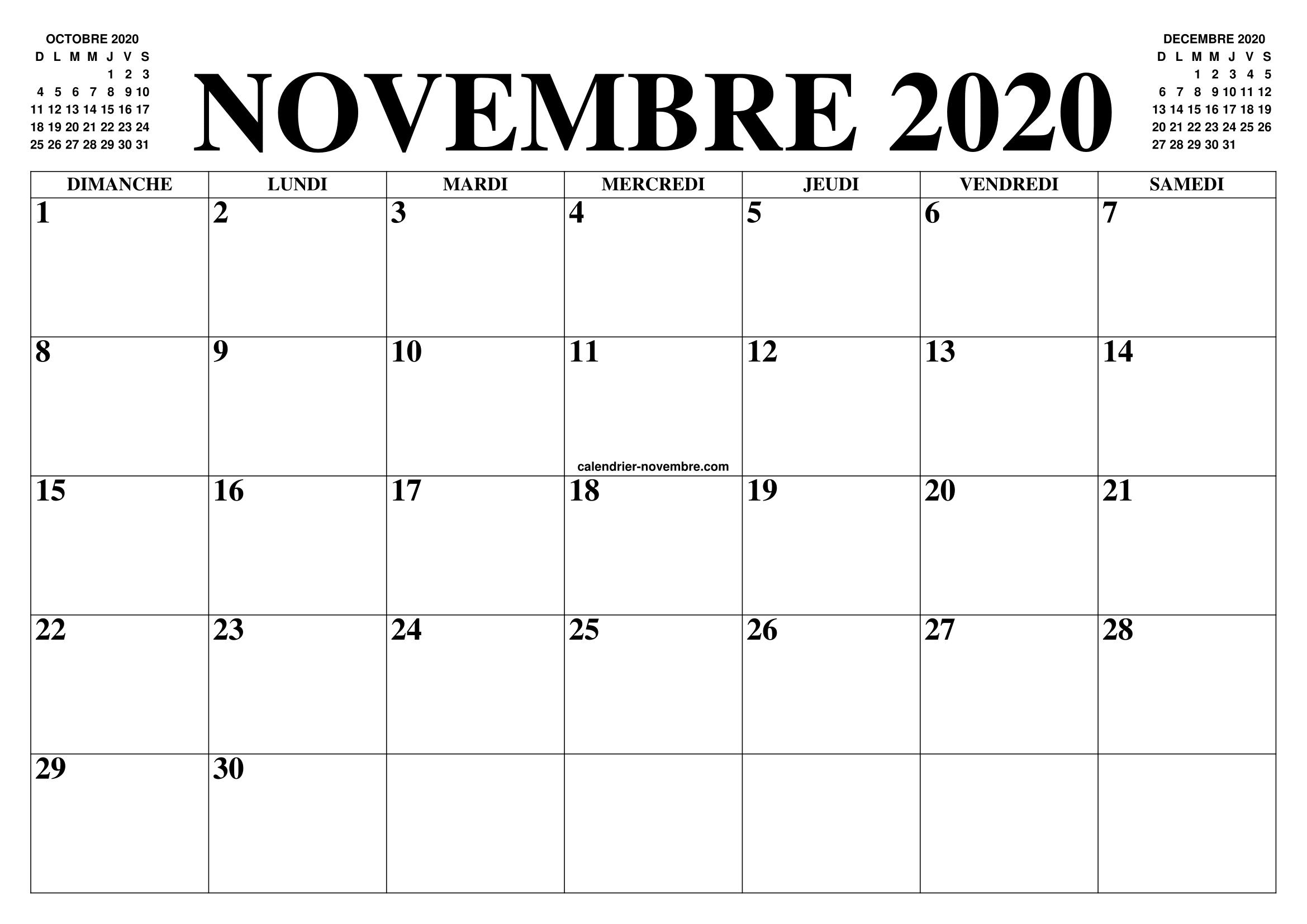 Novembre 2020 Calendario.Calendrier Novembre 2020 Le Calendrier Du Mois De Novembre